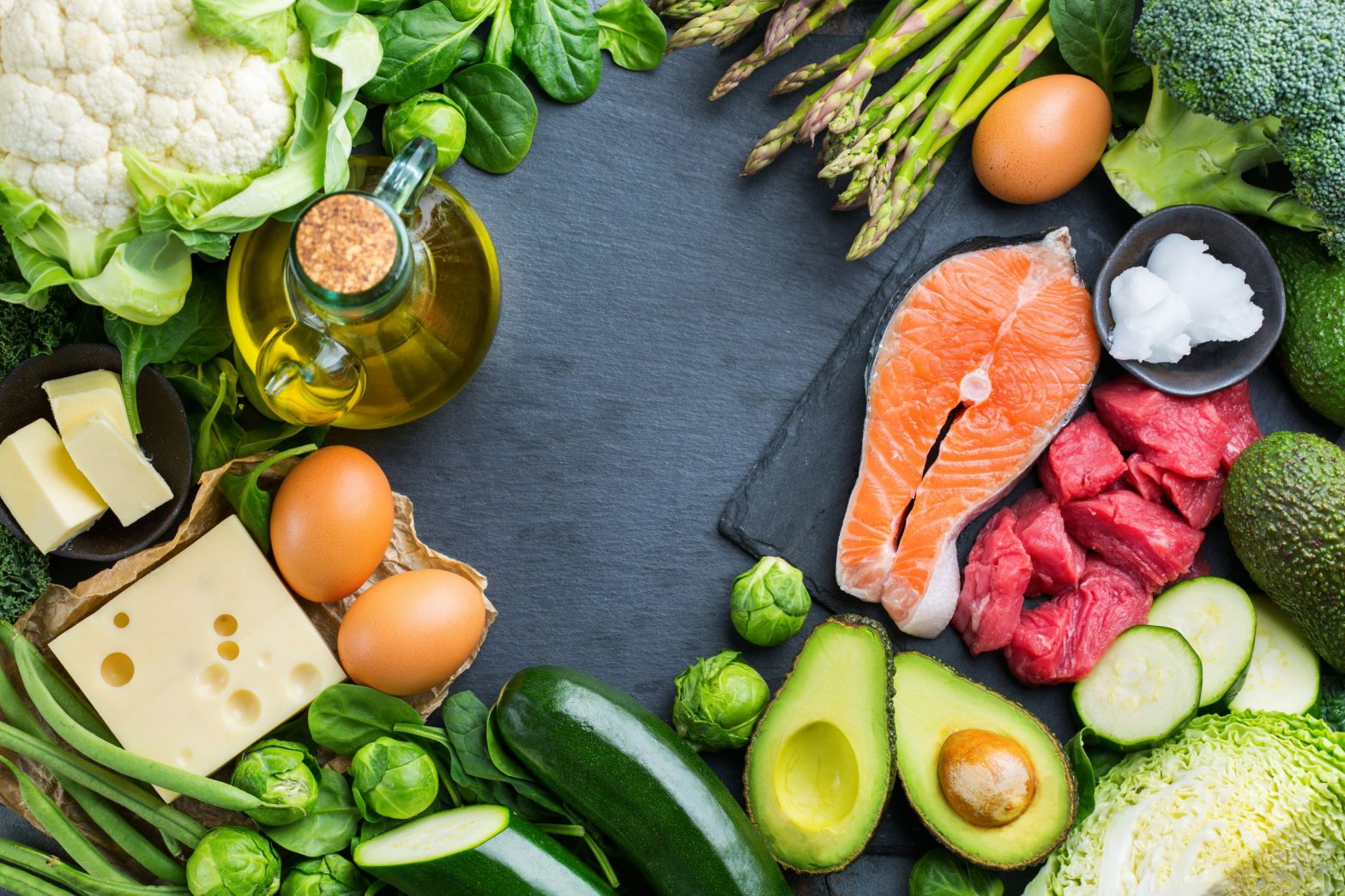 Picture of multiple ketogenic foods, including fish, read meat, avocado, oil, and zucchini